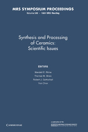 Synthesis and Processing of Ceramics: