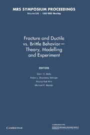 Fracture and Ductile vs. Brittle Behavior — Theory, Modelling and Experiment