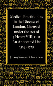 Medical Practitioners in the Diocese of London, Licensed under the Act of 3 Henry VIII, C. II