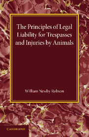 The Principles of Legal Liability for Trespasses and Injuries by Animals