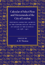 Calendar of Select Pleas and Memoranda of the City of London
