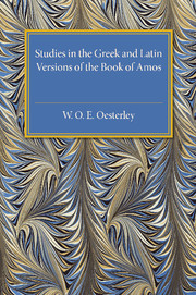 Studies in the Greek and Latin Versions of the Book of Amos