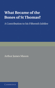 What Became of the Bones of St Thomas?