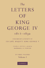 The Letters of King George IV 1812–1830