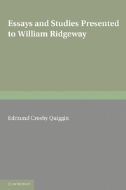 Essays and Studies Presented to William Ridgeway