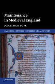 Maintenance in Medieval England