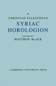 A Christian Palestinian Syriac Horologion