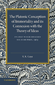 The Platonic Conception of Immortality and its Connexion with the Theory of Ideas