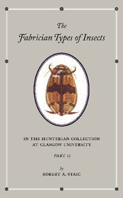 The Fabrician Types of Insects in the Hunterian Collection at Glasgow University