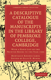 A Descriptive Catalogue of the Manuscripts in the Library of Pembroke College, Cambridge