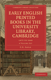 Early English Printed Books in the University Library, Cambridge