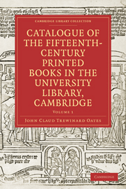 Catalogue of the Fifteenth-Century Printed Books in the University Library, Cambridge