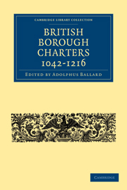 British Borough Charters 1042–1216