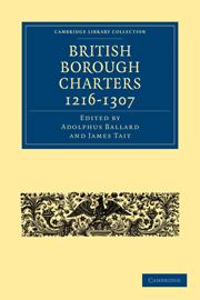 British Borough Charters 1216–1307