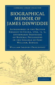 Biographical Memoir of James Dinwiddie, L.L.D., Astronomer in the British Embassy to China, 1792, '3, '4,