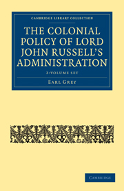 The Colonial Policy of Lord John Russell's Administration