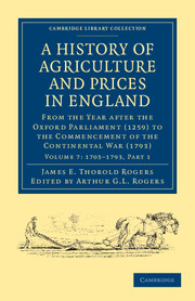 A History of Agriculture and Prices in England