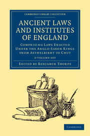 Ancient Laws and Institutes of England