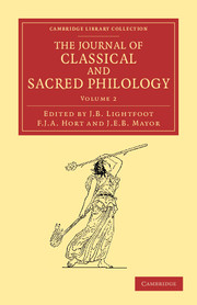 The Journal of Classical and Sacred Philology