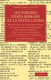 Les Parlers Judéo-Romans et la Vetus Latina