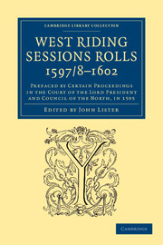West Riding Sessions Rolls, 1597/8–1602