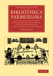 Front cover of Bibliotheca Farmeriana by Thomas King