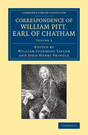 Correspondence of William Pitt, Earl of Chatham