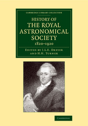 History of the Royal Astronomical Society, 1820-1920