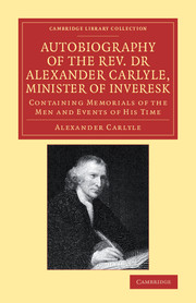 Autobiography of the Rev. Dr Alexander Carlyle, Minister of Inveresk