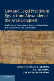 Law and Legal Practice in Egypt from Alexander to the Arab Conquest