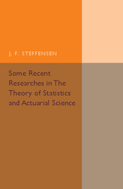 Some Recent Researches in the Theory of Statistics and Actuarial Science