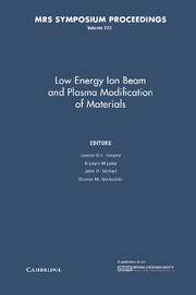 Low Energy Ion Beam and Plasma Modification of Materials