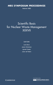 Scientific Basis for Nuclear Waste Management XXXVII