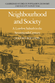 Neighbourhood and Society: A London Suburb in the Seventeenth Century
