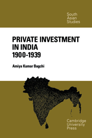 Private Investment in India 1900–1939