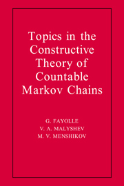 Topics in the Constructive Theory of Countable Markov Chains