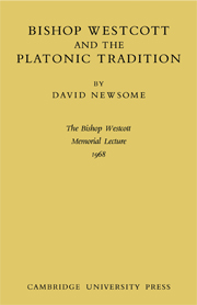 Bishop Westcott and the Platonic Tradition