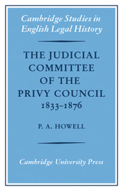The Judicial Committee of the Privy Council 1833–1876