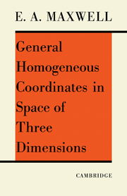 General Homogeneous Coordinates in Space of Three Dimensions