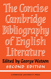 The Concise Cambridge Bibliography of English Literature, 1600–1950