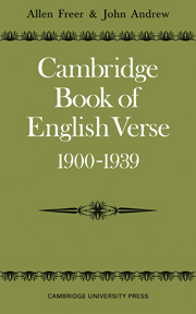 Cambridge Book of English Verse 1900–1939