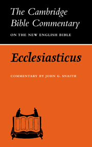 Ecclesiasticus or the Wisdom of Jesus, Son of Sirach