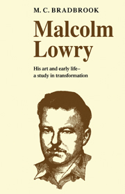 Malcolm Lowry: His Art and Early Life
