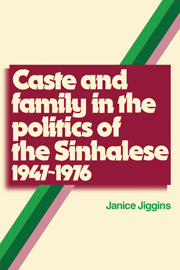 Caste and Family Politics Sinhalese 1947–1976