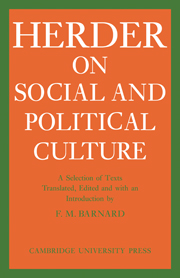 J. G. Herder on Social and Political Culture