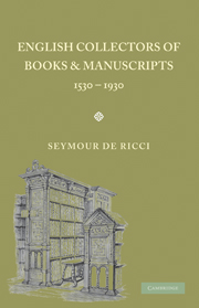English Collectors of Books and Manuscripts