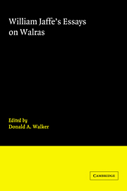 William Jaffe's Essays on Walras
