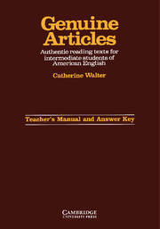 Genuine Articles Teacher's manual with key