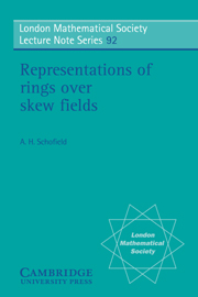 Representations of Rings over Skew Fields