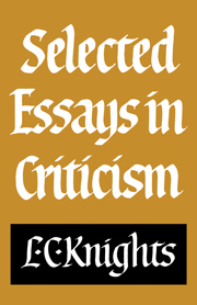 Selected Essays in Criticism